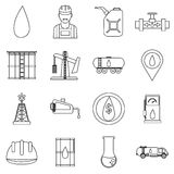 Oil industry icons set, outline style Stock Image