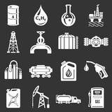 Oil industry icons set grey vector stock illustration