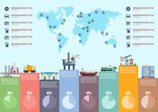 Oil industry infographic. Map stages of production. Of petroleum products vector illustration. Flat style stock illustration