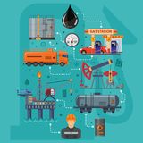 Oil Industry Infographics. With Flat Icons extraction production and transportation oil and petrol with oilman, rig and barrels. Isolated vector illustration Stock Images