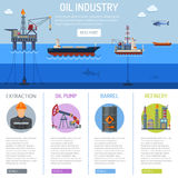 Oil industry Infographics. With Flat Icons extraction refinery and transportation oil and petrol with oil pump, oil platform and cargo tank. vector illustration Royalty Free Stock Photos