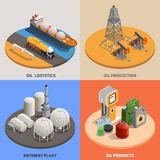 Oil Industry Isometric Concept. Oil production logistics refinery plant 4 isometric colorful background icons square petroleum industry concept isolated vector vector illustration