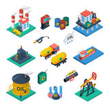 Oil Industry Isometric Icons  Set Royalty Free Stock Image
