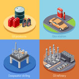 Oil Industry Isometric 4 Icos Square. Oil industry isometric 4 icons square poster with refinery plant and gas station abstract vector illustration stock illustration