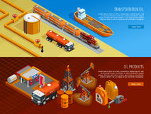 Oil Industry Isometric Webpage Banners Set. Gas oil industry storage and transportation facilities 2 isometric horizontal banners with filling station  vector Royalty Free Stock Images