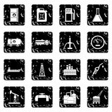 Oil industry items icons set Royalty Free Stock Photography
