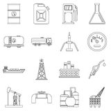Oil industry items icons set, outline style Stock Photo