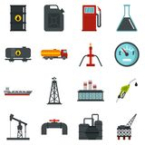 Oil industry items set flat icons Royalty Free Stock Photos