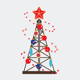 Oil industry land drilling rig. Happy New Year and Merry Christmas vector illustration