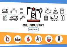 Oil Industry Line Icons Set. With drilling rig tanker pipe valve fuel gun dispenser derrick canister truck platform factory isolated vector illustration royalty free illustration
