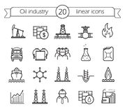 Oil industry linear icons set Stock Photography
