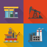 Oil industry modern concept design flat set Stock Photos