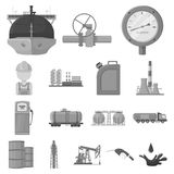 Oil industry monochrome icons in set collection for design. Equipment and oil production vector symbol stock web. Oil industry monochrome icons in set collection royalty free illustration