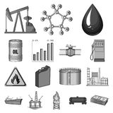 Oil industry monochrome icons in set collection for design. Equipment and oil production vector symbol stock web. Oil industry monochrome icons in set collection stock illustration