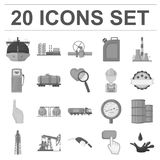 Oil industry monochrome icons in set collection for design. Equipment and oil production vector symbol stock web Stock Photography