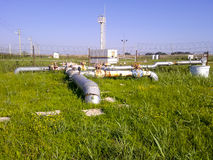Oil industry object. Technological pipelines and equipment. Stock Photography