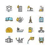 Oil Industry Outline Icon Color Set. Vector Royalty Free Stock Photo