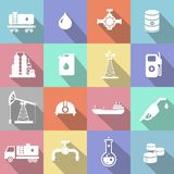 Oil industry petrol gasoline processing symbols. Icons set with oilman truck petroleum can tanker with long shadow Stock Photos