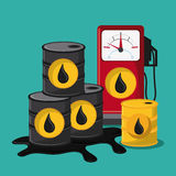 Oil industry production petroleum icon. Barrel drop dispenser oil industry production petroleum icon, Vector illustration royalty free illustration