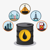 Oil industry production petroleum icon. Barrel drop tower dispenser oil industry production petroleum icon, vector illustration stock illustration