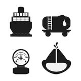 Oil industry production petroleum icon. Gauge ship drop container earth oil industry production petroleum icon. Silhouette and isolated illustration royalty free illustration