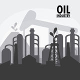 Oil industry production petroleum icon. Oil pump industry production petroleum icon. Silhouette illustration Stock Images