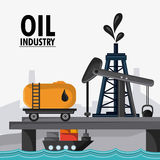 Oil industry production petroleum icon. Sea container ship oil pump industry production petroleum icon, vector illustration stock illustration