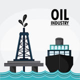 Oil industry production petroleum icon. Ship sea tower oil industry production petroleum icon, Vector illustration Royalty Free Stock Image