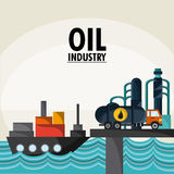 Oil industry production petroleum icon. Ship truck sea container oil industry production petroleum icon, Vector illustration Stock Photos