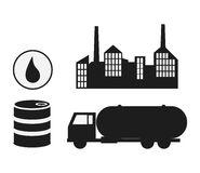 Oil industry production petroleum icon. Silhouette and  illustration Royalty Free Stock Image