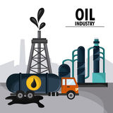 Oil industry production petroleum icon. Tower truck oil industry production petroleum icon, vector illustration Stock Photo