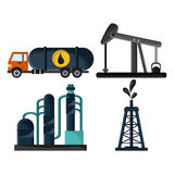 Oil industry production petroleum icon. Truck oil pump tower oil industry production petroleum icon, vector illustration Stock Photography