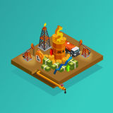 Oil Industry Production Profits Isometric Poster Royalty Free Stock Photography