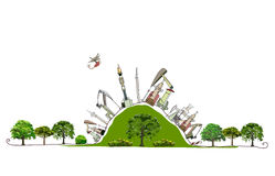 Oil industry pumping the green hill Enviromental consept Royalty Free Stock Photo