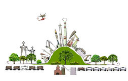 Oil industry pumping the green hill Enviromental consept Stock Image