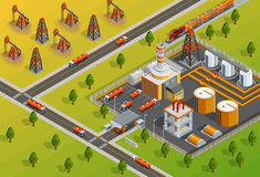 Oil Industry Refinery Facility Isometric Poster. Petroleum industrial refinery plant facility for processing crude oil in gasoline and diesel fuel isometric stock illustration