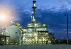 Oil Industry Refinery factory at night Royalty Free Stock Image