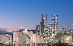 Oil Industry Refinery factory at twilight Stock Image