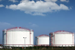 Oil industry refinery tanks Royalty Free Stock Photos