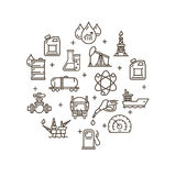 Oil Industry Round Design Template Outline Icon Set. Vector Royalty Free Stock Image