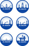 Oil industry. Set of circle emblem of oil industry with blue rays. Eps 10 vector illustration