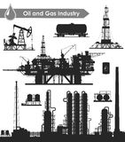 Oil industry set. Set of oil and gas industry silhouettes. Oil refinery, offshore sea oil drilling rig, land oil drilling rig, oil pumpjack, barrel and railroad Stock Photography