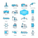 Oil industry thin line icons, pictogram and symbol set. Stock Image