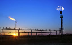 Oil industry. Torches for casing-head gas flaring during oil at Royalty Free Stock Image