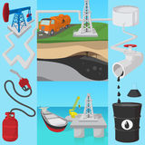 Oil industry transit concept, cartoon style Royalty Free Stock Photography