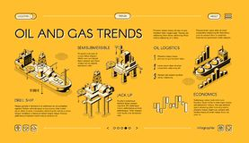 Oil industry trends landing page isometric vector royalty free illustration