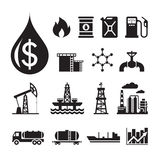 16 oil industry vector icons for infographic, business presentation, booklet and different design project. Production, transportation and refining of oil Royalty Free Stock Images