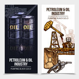 Oil Industry Vertical Banners. With rig tanks canister icons and pumping black gold description vector illustration Royalty Free Stock Photography