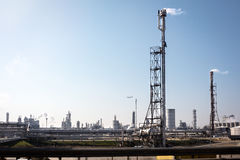 Oil installations in industrial zone Royalty Free Stock Photos