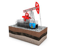 Oil Jack Pump over Ground with Money Royalty Free Stock Images